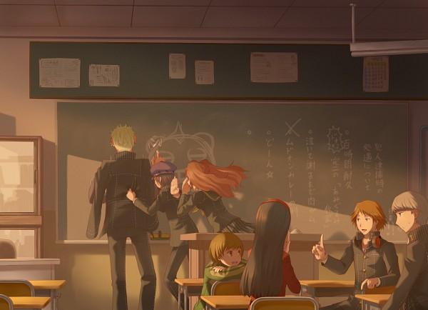 Tags: Anime, Pixiv Id 1635922, Shin Megami Tensei: PERSONA 4, Kujikawa Rise, Tatsumi Kanji, Shirogane Naoto, Hanamura Yousuke, Satonaka Chie, Kuma, Narukami Yu, Amagi Yukiko, Chalkboard, Chalk