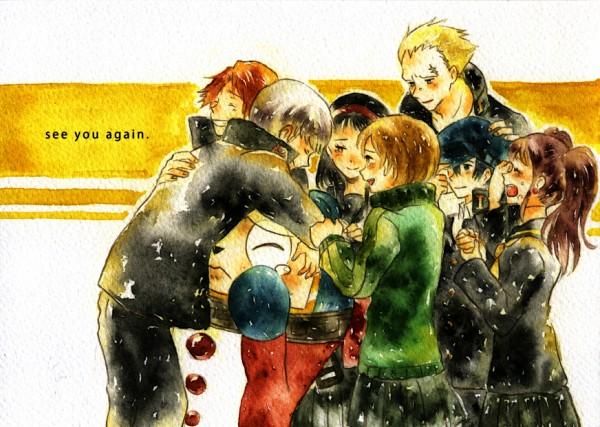Tags: Anime, Pixiv Id 845530, Shin Megami Tensei: PERSONA 4, Narukami Yu, Amagi Yukiko, Hanamura Yousuke, Kujikawa Rise, Kuma, Shirogane Naoto, Tatsumi Kanji, Satonaka Chie, Group Hug, Fanart