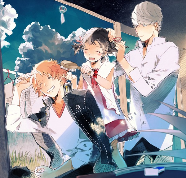 Tags: Anime, Pixiv Id 6694107, Shin Megami Tensei: PERSONA 4, Hanamura Yousuke, Narukami Yu, Doujima Nanako, Pixiv, Fanart