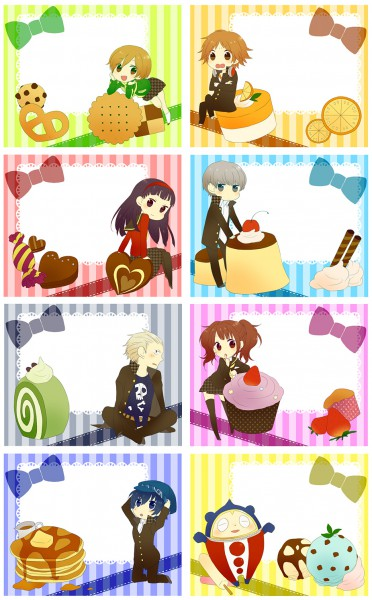 Tags: Anime, Shin Megami Tensei: PERSONA 4, Kuma, Kujikawa Rise, Shirogane Naoto, Tatsumi Kanji, Doujima Nanako, Narukami Yu, Satonaka Chie, Hanamura Yousuke, Amagi Yukiko, Chocolate Heart, Pancakes