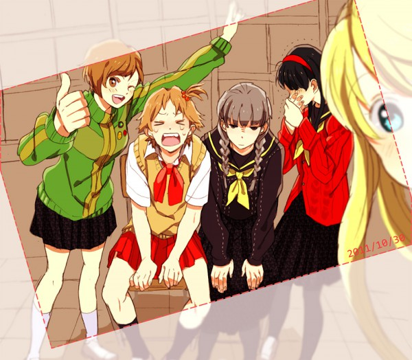 Tags: Anime, Shin Megami Tensei: PERSONA 4, Satonaka Chie, Kuma, Amagi Yukiko, Narukami Yu, Hanamura Yousuke, Thumbs Up, Artist Request