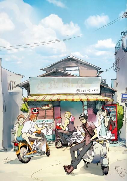 Tags: Anime, Soejima Shigenori, Shin Megami Tensei: PERSONA 4, Satonaka Chie, Hanamura Yousuke, Amagi Yukiko, Tatsumi Kanji, Narukami Yu, Motorcycle Helmet, Mobile Wallpaper, Scan, Official Art