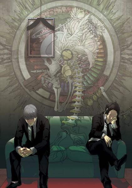 Tags: Anime, Pixiv Id 41085, Shin Megami Tensei: PERSONA 4, Adachi Tohru, Narukami Yu, Fanart, Mobile Wallpaper