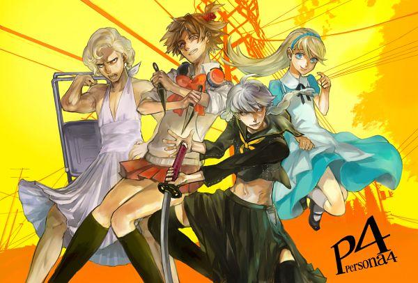 Tags: Anime, Pixiv Id 31619, Shin Megami Tensei: PERSONA 4, Kuma, Tatsumi Kanji, Narukami Yu, Hanamura Yousuke, Marilyn Monroe Pose, Folding Chair, Alice (Alice in Wonderland) (Cosplay)