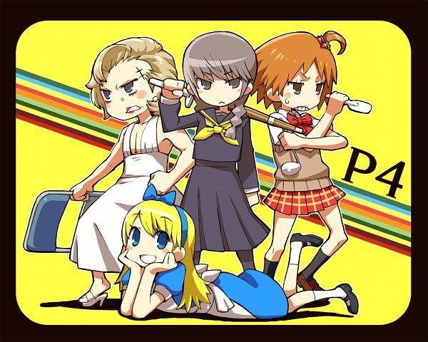 Tags: Anime, CHAN×CO, Shin Megami Tensei: PERSONA 4, Kuma, Tatsumi Kanji, Narukami Yu, Hanamura Yousuke, Folding Chair, Alice (Alice in Wonderland) (Cosplay), Ladle, Marilyn Monroe Pose, Shinai, Spatula