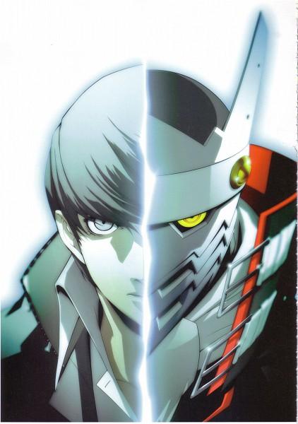 Tags: Anime, Soejima Shigenori, Atlus, P4 Official Design Works, Shin Megami Tensei: PERSONA 4, Izanagi, Narukami Yu, Mobile Wallpaper, Official Art