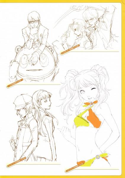 Tags: Anime, Soejima Shigenori, Atlus, P4 Official Design Works, Shin Megami Tensei: PERSONA 4, Kujikawa Rise, Shirogane Naoto, Kuma, Narukami Yu, Amagi Yukiko, Official Art, Character Sheet