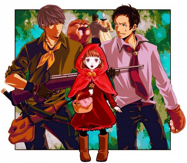 Tags: Anime, Chiru (Sanifani), Shin Megami Tensei: PERSONA 4, Narukami Yu, Doujima Ryoutarou, Adachi Tohru, Doujima Nanako, Red Riding Hood (Cosplay), Grandmother (Red Riding Hood) (Cosplay), Huntsman (Red Riding Hood) (Cosplay), Red Riding Hood (Parody), Big Bad Wolf (Cosplay), Pixiv