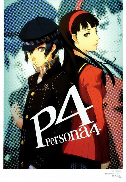 Tags: Anime, Soejima Shigenori, Atlus, P4 Official Design Works, Shin Megami Tensei: PERSONA 4, Shirogane Naoto, Amagi Yukiko, Mobile Wallpaper, Official Art