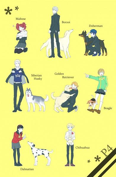 Tags: Anime, Shin Megami Tensei: PERSONA 4, Tatsumi Kanji, Satonaka Chie, Narukami Yu, Amagi Yukiko, Kujikawa Rise, Hanamura Yousuke, Shirogane Naoto, Kuma, Golden Retriever, Dalmatian, Borzoi (Dog)