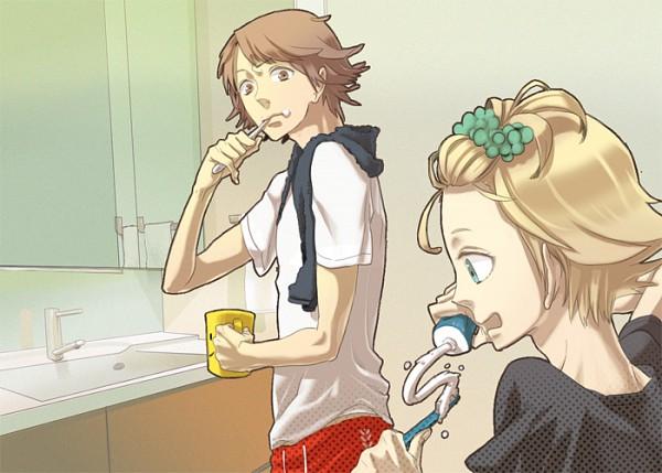 Tags: Anime, 26262626 (Artist), Shin Megami Tensei: PERSONA 4, Hanamura Yousuke, Kuma, Toothbrushing, Pixiv, Fanart