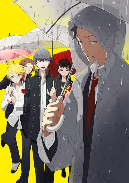 Tags: Anime, Ginsyari, Shin Megami Tensei: PERSONA 4, Narukami Yu, Hanamura Yousuke, Kuma, Amagi Yukiko, Adachi Tohru, Rain Coat, Mobile Wallpaper, Fanart From Pixiv, Pixiv, Fanart