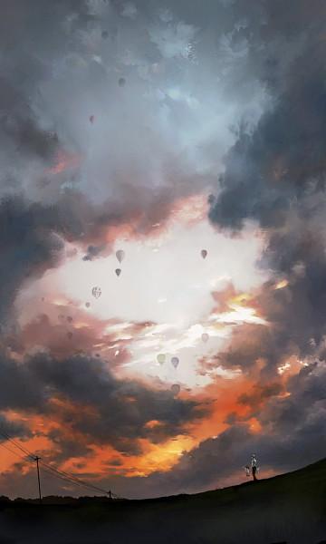 Tags: Anime, Harukazu, Shin Megami Tensei: PERSONA 4, Doujima Nanako, Kuma, Narukami Yu, Hot Air Balloon, Fanart, Mobile Wallpaper