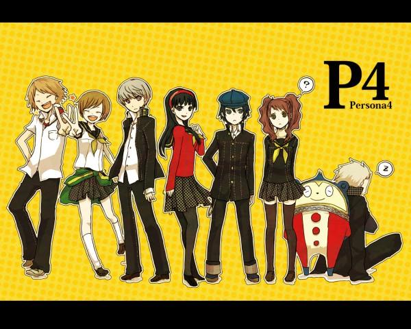 Tags: Anime, Buzz, Shin Megami Tensei: PERSONA 4, Hanamura Yousuke, Amagi Yukiko, Kuma, Kujikawa Rise, Tatsumi Kanji, Shirogane Naoto, Narukami Yu, Satonaka Chie, Wallpaper, Pixiv
