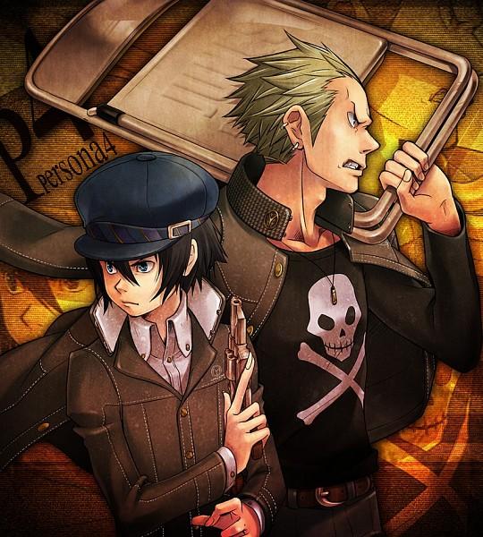 Tags: Anime, Choumoku (Toriko B C), Shin Megami Tensei: PERSONA 4, Shirogane Naoto, Tatsumi Kanji, Revolver, Pixiv, Fanart