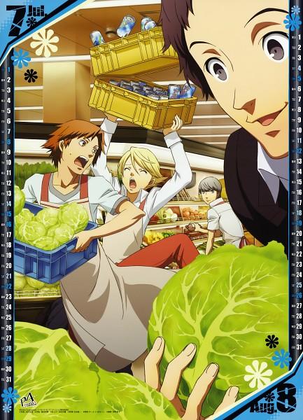 Tags: Anime, Soejima Shigenori, Shin Megami Tensei: PERSONA 4, Adachi Tohru, Hanamura Yousuke, Kuma, Narukami Yu, Calendar (Source), Mobile Wallpaper, Calendar 2012, Official Art