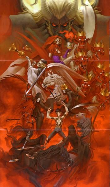 Tags: Anime, Kaneko Kazuma, Atlus, Shin Megami Tensei III: Nocturne, Pale Rider, Hitoshura, Red Rider (Persona), Mother Harlot, Black Rider (Shin Megami Tensei), Trumpeter, White Rider, Trumpet, Official Art