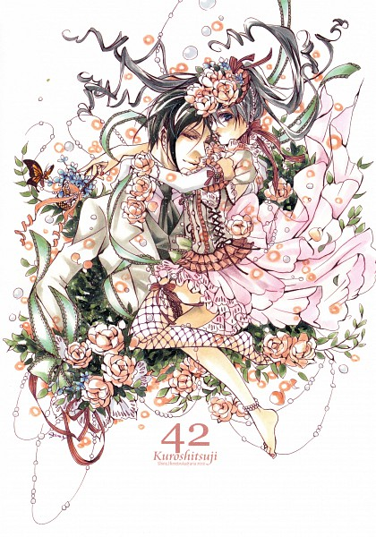 Tags: Anime, Shina Himetsuka, Kuroshitsuji, Lady Phantomhive, Ciel Phantomhive, Sebastian Michaelis, Wig, Scan, Mobile Wallpaper