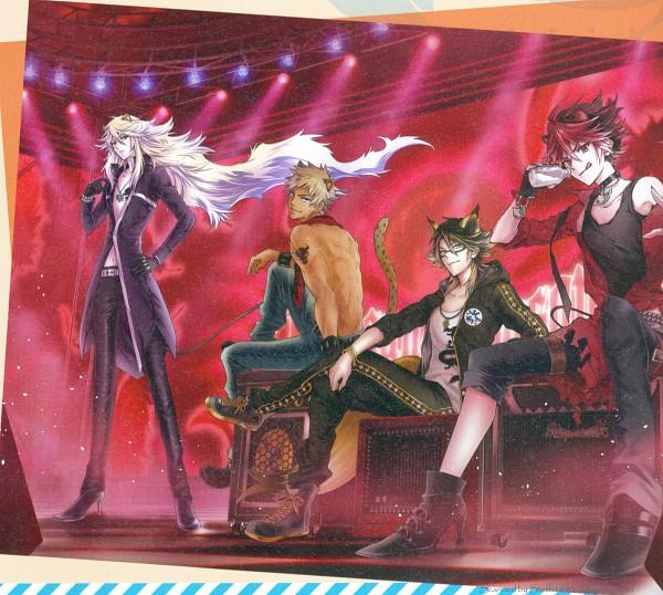 Tags: Anime, Show by Rock!!, Rom (Show by Rock!!), Yaiba (Show by Rock!!), Aion (Show by Rock!!), Crow (Show by Rock!!), Shishimimi, Spotlight, Otomedia (Magazine), Magazine (Source), Artist Request, Self Scanned, Official Art