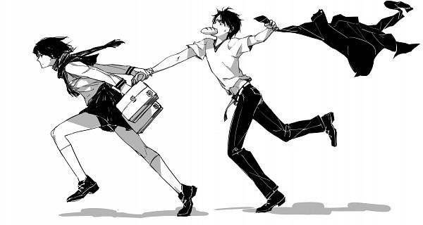 Tags: Anime, Pixiv Id 6589728, Shingeki no Kyojin, Eren Jaeger, Mikasa Ackerman, Floating Scarf, Fanart From Pixiv, Pixiv, Fanart, Facebook Cover, Attack On Titan