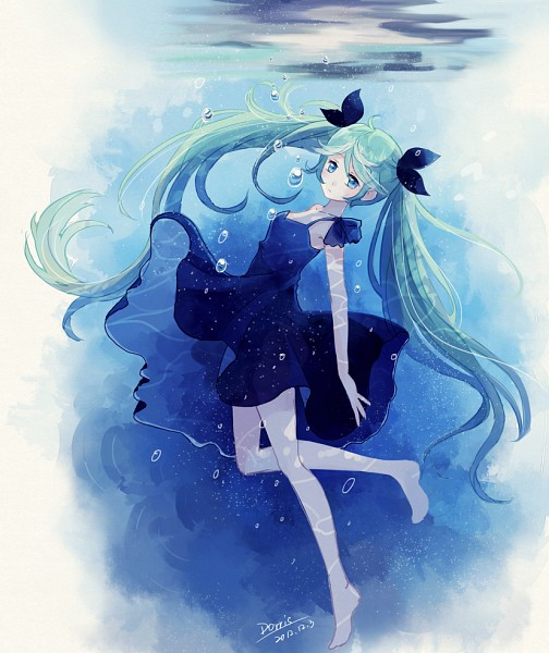 Tags: Anime, Dorris, VOCALOID, Hatsune Miku, Water Reflection, Pixiv, Shinkai Shoujo, Deep-sea Girl