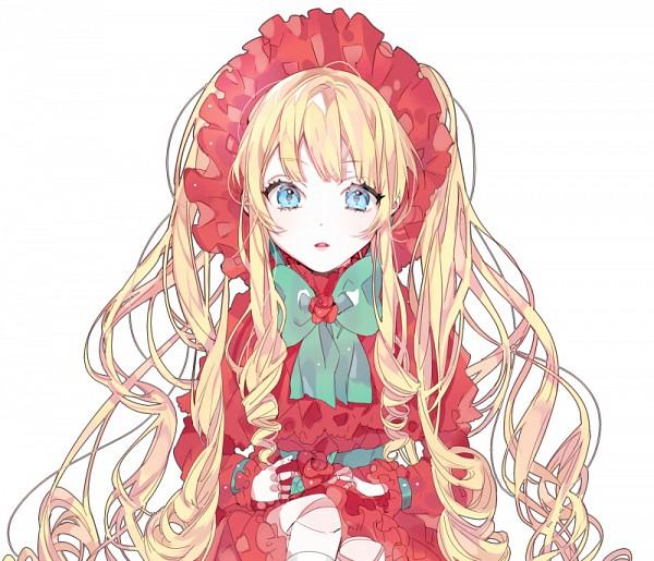 Tags: Anime, Piyo (ppotatto), Rozen Maiden, Shinku, Poke Bonnet, Aqua Neckwear, Aqua Bow, Ball Jointed Doll, Pixiv, Fanart From Pixiv, PNG Conversion, Fanart