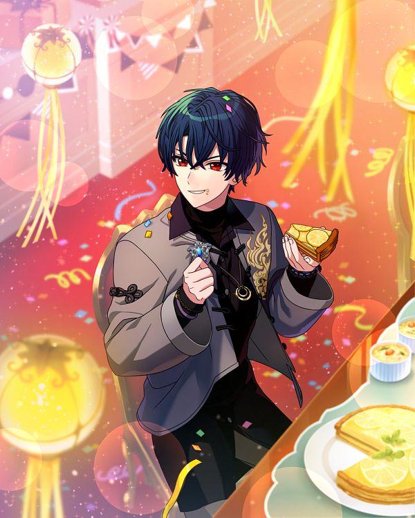 Tags: Anime, Mahoutsukai no Yakusoku, Shino (Mahoutsukai no Yakusoku), Gray Jacket, Pie, Official Card Illustration, Official Art