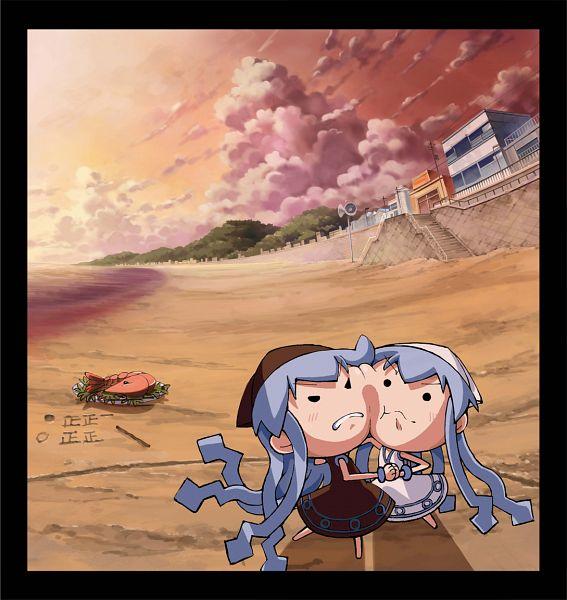 Tags: Anime, Pixiv Id 2483166, Shinryaku! Ikamusume, Ikamusume, Kuro Mini-Ikamusume, Mini-Ikamusume, Squid Girl (series)