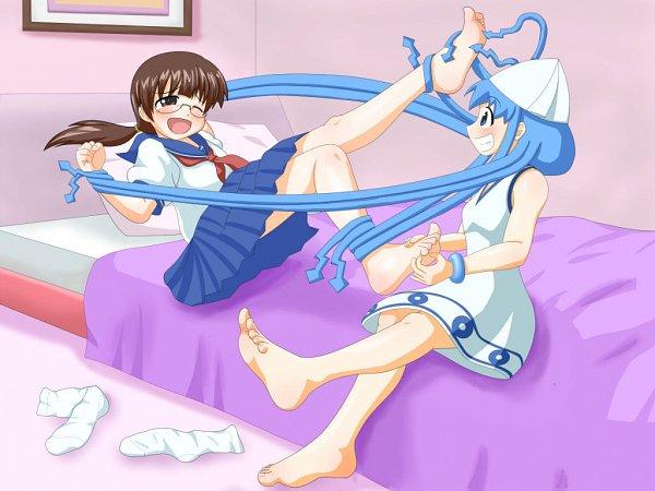 Tags: Anime, Pixiv Id 4044785, Shinryaku! Ikamusume, Sakura Kiyomi, Ikamusume, Tickle, Pixiv, Fanart From Pixiv, Wallpaper, Fanart, Squid Girl (series)