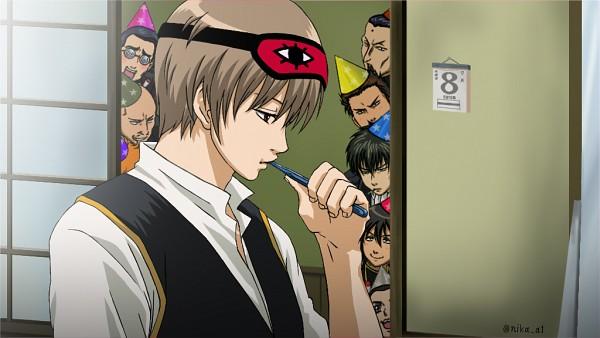 Tags: Anime, Gintama, Hijikata Toushirou, Harada Unosuke, Sasaki Tetsunosuke, Yamazaki Sagaru, Kumanaku Seizou, Kamiyama (Gintama), Kondo Isao, Okita Sougo, Swirly Glasses, Toothbrushing, Sleep Mask