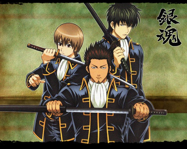 Tags: Anime, Gintama, Okita Sougo, Hijikata Toushirou, Kondo Isao, Wallpaper, Official Art, Shinsengumi (Gin Tama)