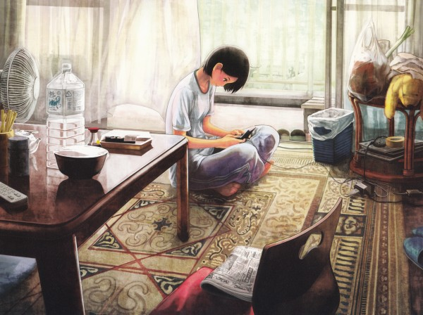 Tags: Anime, Shirakaba, Pixiv Girls Collection, 1680x1050 Wallpaper, Sushi, Trash, Electric Fan, Rug, Playing, Water Bottle, Living Room, Newspaper, Pixiv