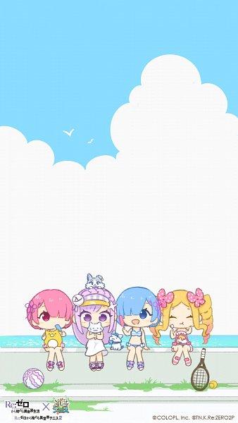 Tags: Anime, COLOPL, Re:Zero Kara Hajimeru Isekai Seikatsu, Shironeko Tennis, Emilia (Re:Zero), Rem (Re:Zero), Ram (Re:Zero), Pack (Re:Zero), Beatrice (Re:Zero), Sitting On Head, Tennis Racket, Official Art, Official Wallpaper