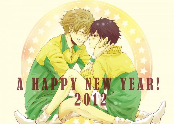Tags: Anime, Machi (Pixiv Id 1382937), Tennis no Ouji-sama, Oshitari Kenya, Zaizen Hikaru, Shitenhoji Uniform, Happy 2012, Shitenhoji