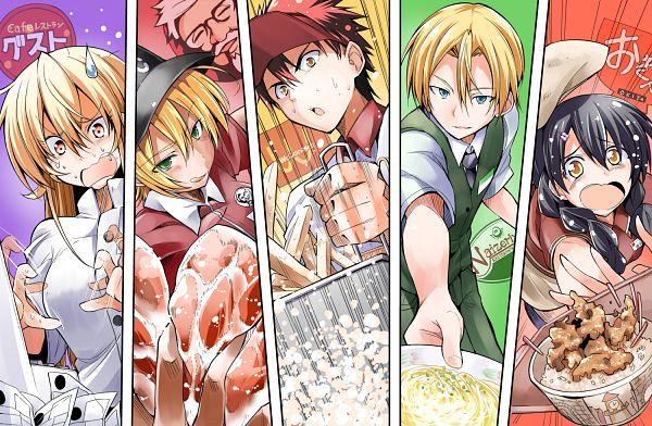 Tags: Anime, Bibi (Pixiv140508), Shokugeki no Souma, Takumi Aldini, Nakiri Erina, Mito Ikumi, Tadokoro Megumi, Yukihira Souma, Flower Clip, Food Wars!