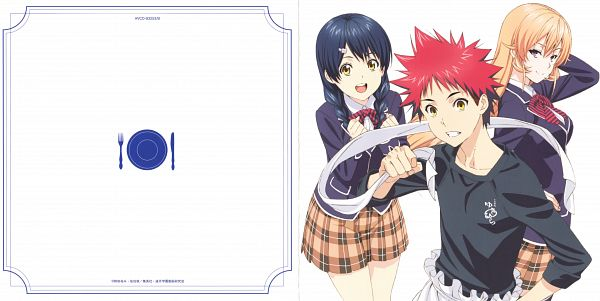 Tags: Anime, J.C.STAFF, Shokugeki no Souma, Tadokoro Megumi, Yukihira Souma, Nakiri Erina, Flower Clip, Scan, Wallpaper, CD (Source), Official Art, Food Wars!