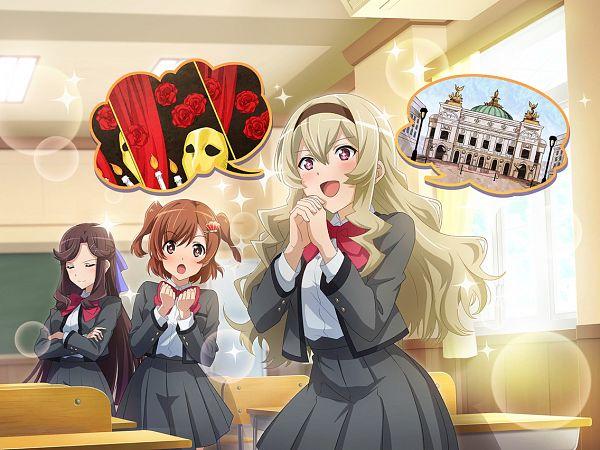 Tags: Anime, Ateam, Shoujo☆Kageki Revue Starlight, Shoujo☆Kageki Revue Starlight -ReLIVE-, Saijou Claudine, Tendou Maya, Aijou Karen, Official Card Illustration, Official Art, Revue Starlight Re Live