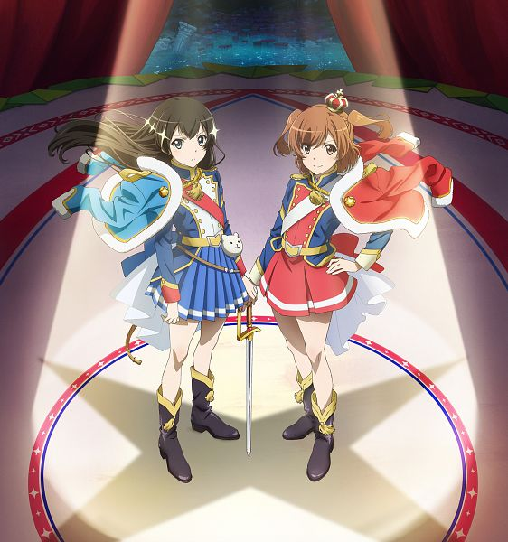 Tags: Anime, Saita Hiroyuki, Kinema Citrus, Shoujo☆Kageki Revue Starlight, Kagura Hikari, Aijou Karen, Official Art, Key Visual, Cover Image, PNG Conversion