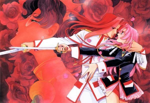 Tags: Anime, Chiho Saito, Shoujo Kakumei Utena, Shoujo Kakumei Utena : Saitou Chiho Fukusei Gengashuu, Himemiya Anthy, Kiryuu Touga, Tenjou Utena, Tomboy, Scan, Official Art, Revolutionary Girl Utena