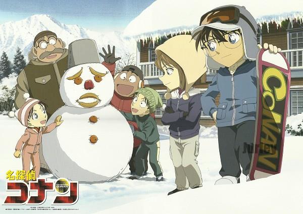 Tags: Anime, Meitantei Conan, Tsuburaya Mitsuhiko, Haibara Ai, Kojima Genta, Edogawa Conan, Yoshida Ayumi, Agasa Hiroshi, Snowboard, Official Art, Scan, Shounen Tanteidan, Detective Boys