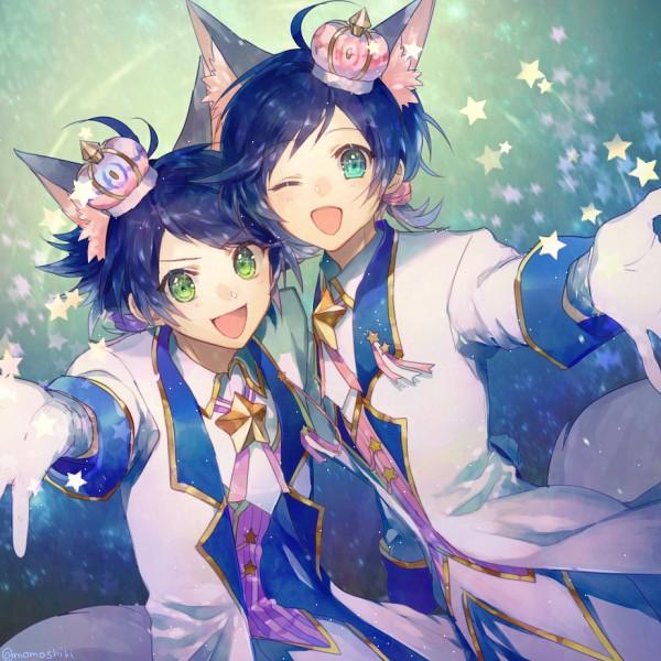Tags: Anime, Momoshiki Tsubaki, Show by Rock!!, Kai (Show by Rock!!), Riku (Show by Rock!!), Mini Crown, Fanart, Fanart From Pixiv, PNG Conversion, Pixiv