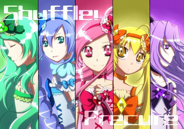 Tags: Anime, Pixiv Id 498540, Shuffle! Precure, Pretty Cure Fan Series, Aino Hikaru, Cure Alto, Nobara Rei, Cure Prism, Kihara Mirai, Cure Royal, Tamakare Ayano, Cure Jewel, Himuro Rena