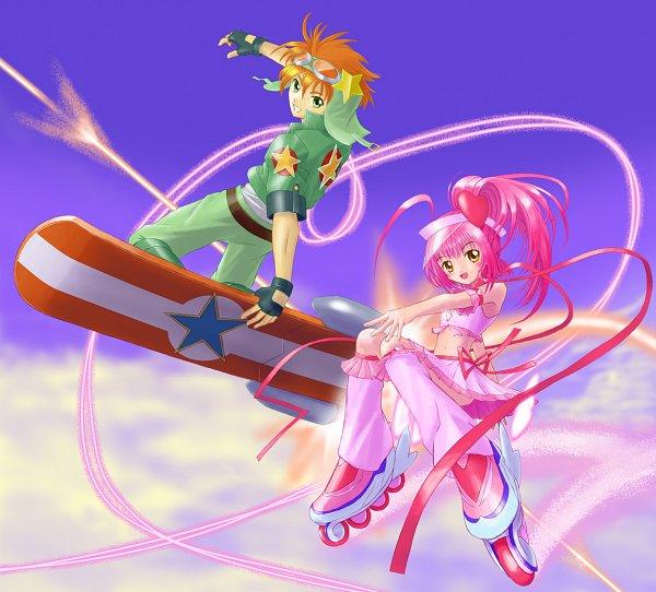 Tags: Anime, Aquakurow, Shugo Chara!, Sky Jack, Souma Kukai, Amulet Heart, Hinamori Amu, Skateboard, Hoverboard, Skating, Roller Skates, Fanart, Pixiv