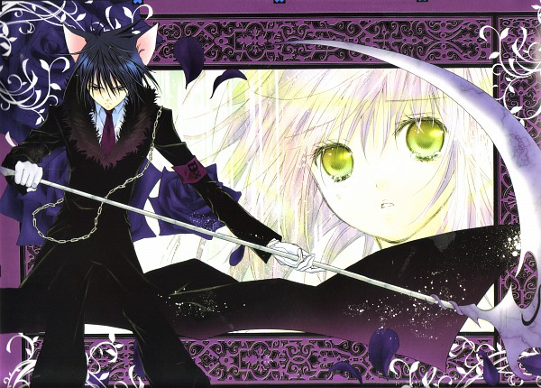 Tags: Anime, PEACH-PIT, Shugo Chara!, Shugo Chara! Illustrations 2, Death Rebel, Tsukiyomi Ikuto, Hinamori Amu, Skull And Crossbones, Black Flower, Scan, Official Art