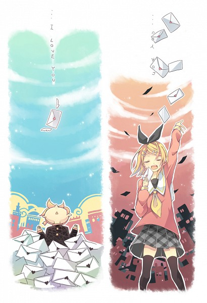 Tags: Anime, Iku2727, VOCALOID, Kagamine Len, Kagamine Rin, Fanart, Pixiv, Mobile Wallpaper, Shuumatsu ga Yattekuru!, Kagamine Mirrors, The Weekend's Coming!