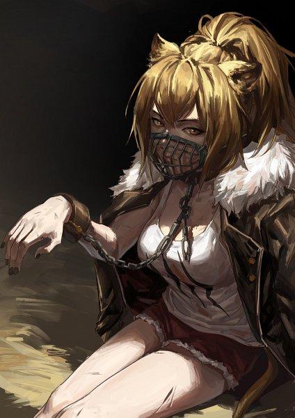 Tags: Anime, Pixiv Id 6797232, Arknights, Siege (Arknights), Shackles, Lion Tail, Shishimimi, Muzzle (Object), Pixiv, Fanart, Fanart From Pixiv