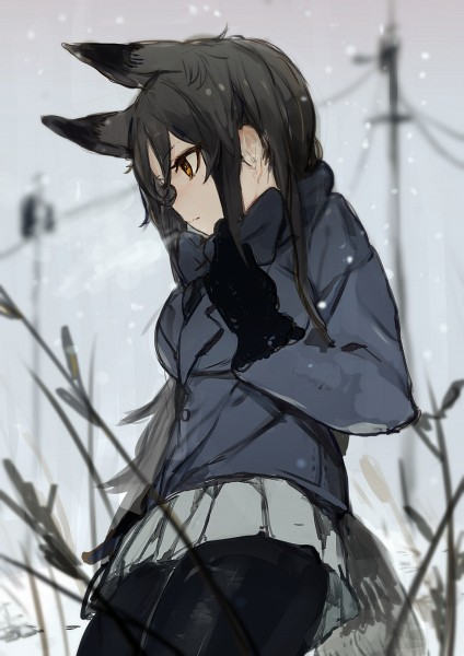 Tags: Anime, Pixiv Id 3371956, Kemono Friends, Silver Fox (Kemono Friends), Power Lines, Pixiv, Sketch, Mobile Wallpaper, Fanart, Fanart From Pixiv