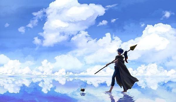Tags: Anime, Yaichi (Artist), Tengen Toppa Gurren-Lagann, Simon (Tengen Toppa Gurren-Lagann), Boota, Walking On Water, Drill, Pixiv, Fanart