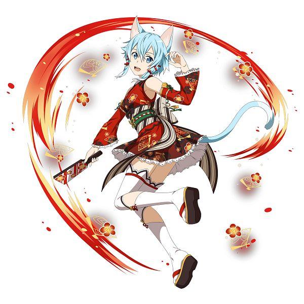 Tags: Anime, Bandai Namco Entertainment, Sword Art Online, Sword Art Online: Memory Defrag, Sinon (ALO), Asada Shino, Wooden Sandals, Tennis Racket, Official Art, Happy 2018