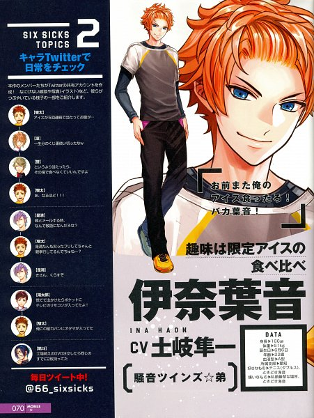 Tags: Anime, Six Sicks, Yellow Footwear, Official Character Information, Scan, Character Profile, Official Art, B's LOG, Magazine Page, Magazine (Source), Self Scanned